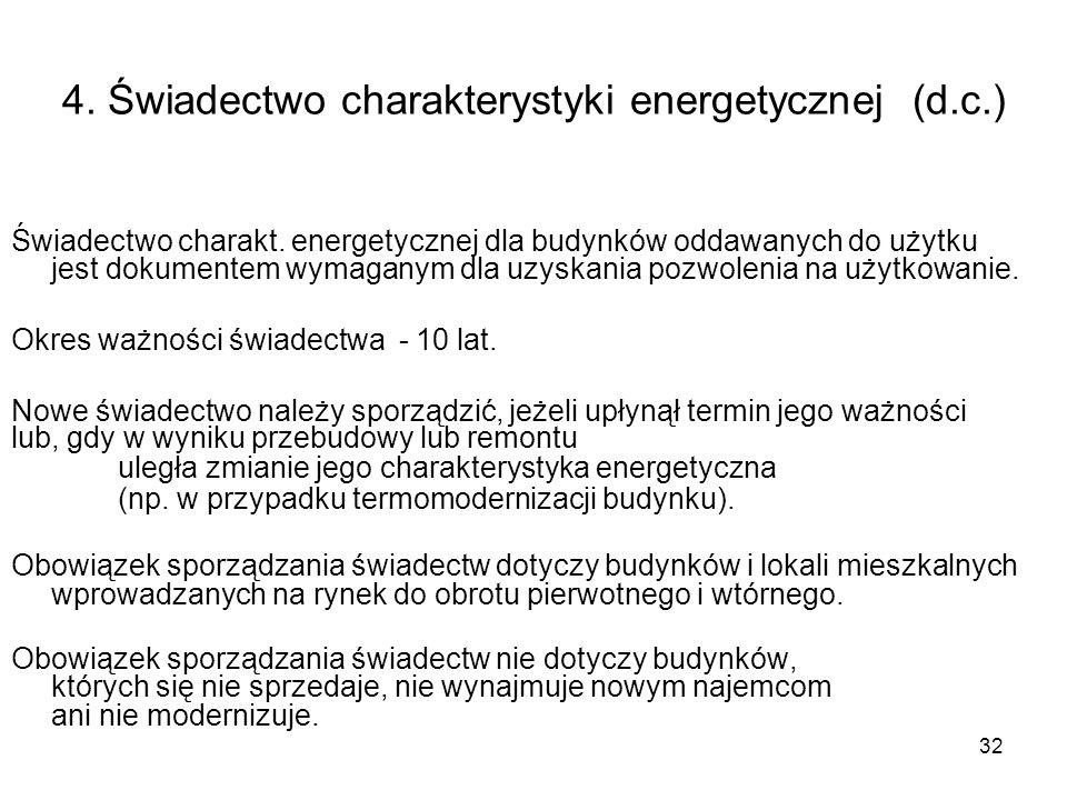 32 4. Świadectwo charakterystyki energetycznej (d.c.) Świadectwo charakt. energetycznej dla budynków oddawanych do użytku jest dokumentem wymaganym dl