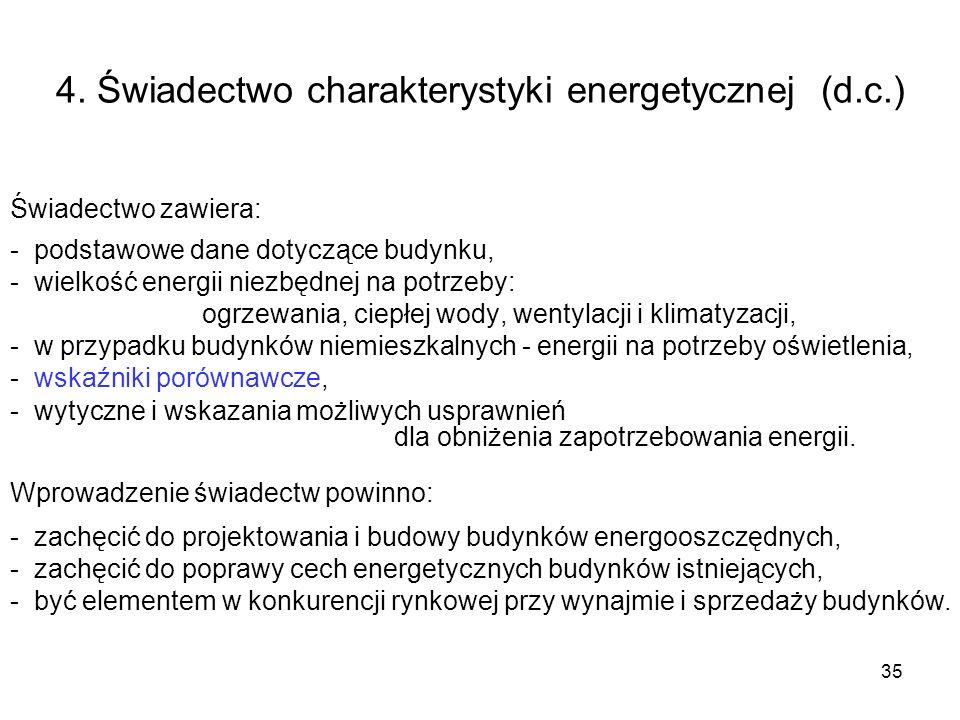 35 4. Świadectwo charakterystyki energetycznej (d.c.) Świadectwo zawiera: - podstawowe dane dotyczące budynku, - wielkość energii niezbędnej na potrze
