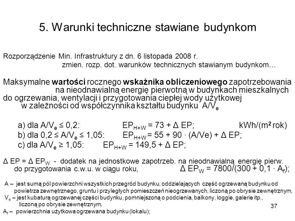 37 5. Warunki techniczne stawiane budynkom Rozporządzenie Min. Infrastruktury z dn. 6 listopada 2008 r. zmien. rozp. dot. warunków technicznych stawia