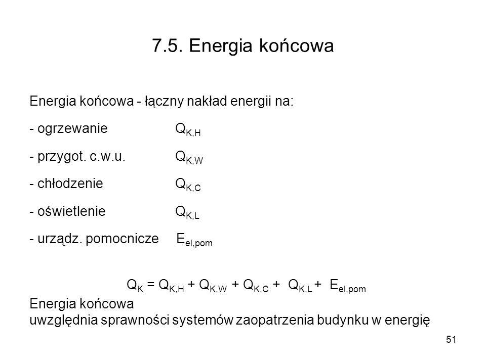 51 7.5. Energia końcowa Energia końcowa - łączny nakład energii na: - ogrzewanie Q K,H - przygot. c.w.u. Q K,W - chłodzenie Q K,C - oświetlenieQ K,L -