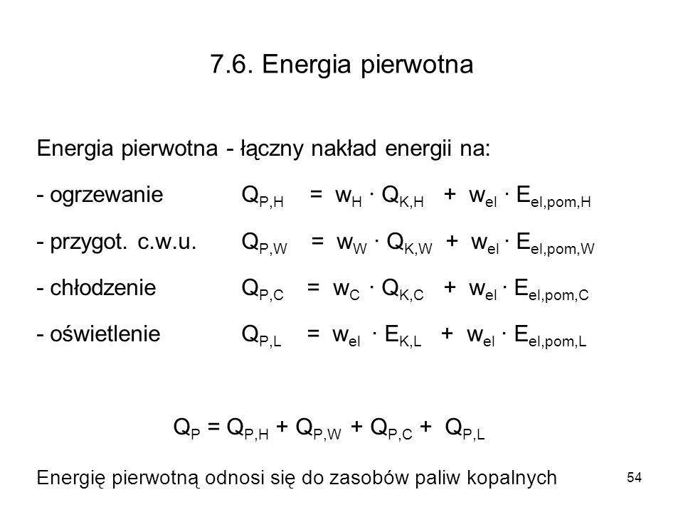 54 7.6. Energia pierwotna Energia pierwotna - łączny nakład energii na: - ogrzewanie Q P,H = w H · Q K,H + w el · E el,pom,H - przygot. c.w.u. Q P,W =