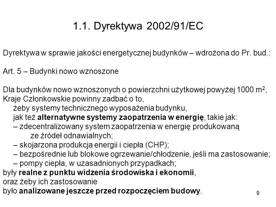 9 1.1. Dyrektywa 2002/91/EC Dyrektywa w sprawie jakości energetycznej budynków – wdrożona do Pr. bud.: Art. 5 – Budynki nowo wznoszone Dla budynków no