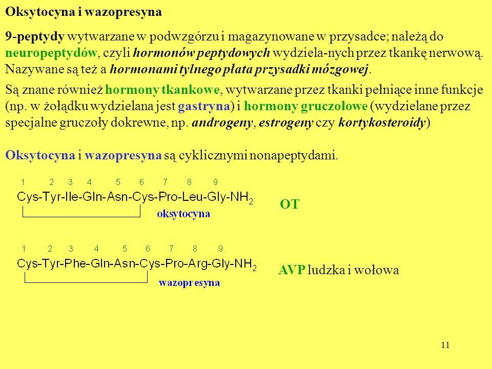 11 Oksytocyna i wazopresyna 9-peptydy wytwarzane w podwzgórzu i magazynowane w przysadce; należą do neuropeptydów, czyli hormonów peptydowych wydziela