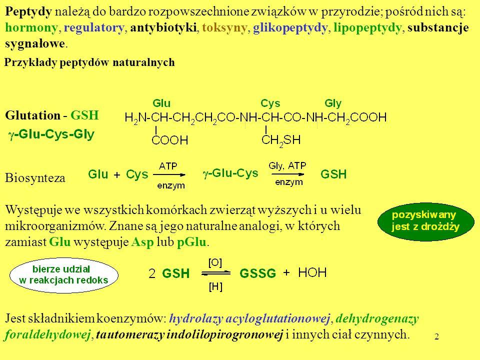 2 Peptydy należą do bardzo rozpowszechnione związków w przyrodzie; pośród nich są: hormony, regulatory, antybiotyki, toksyny, glikopeptydy, lipopeptyd
