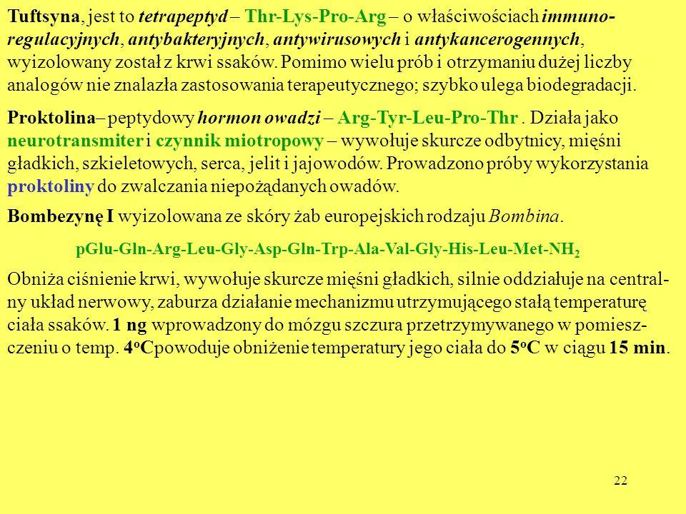 22 Tuftsyna, jest to tetrapeptyd – Thr-Lys-Pro-Arg – o właściwościach immuno- regulacyjnych, antybakteryjnych, antywirusowych i antykancerogennych, wy