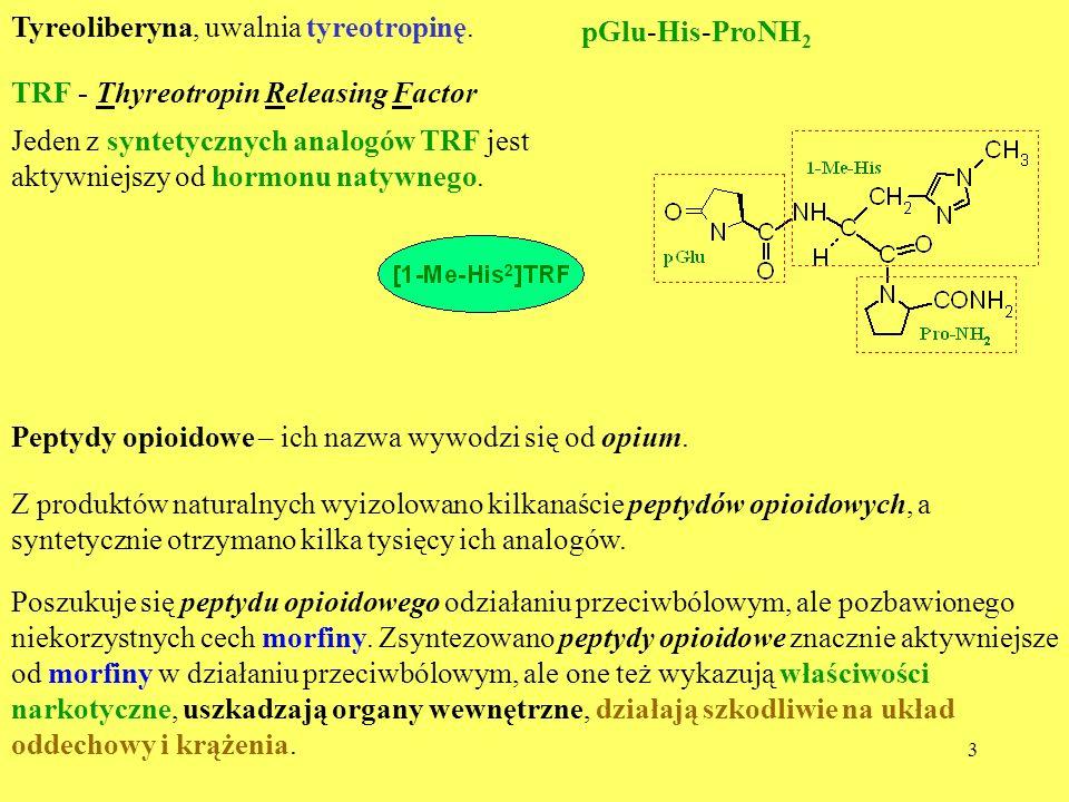 3 Tyreoliberyna, uwalnia tyreotropinę. pGlu-His-ProNH 2 Jeden z syntetycznych analogów TRF jest aktywniejszy od hormonu natywnego. TRF - Thyreotropin