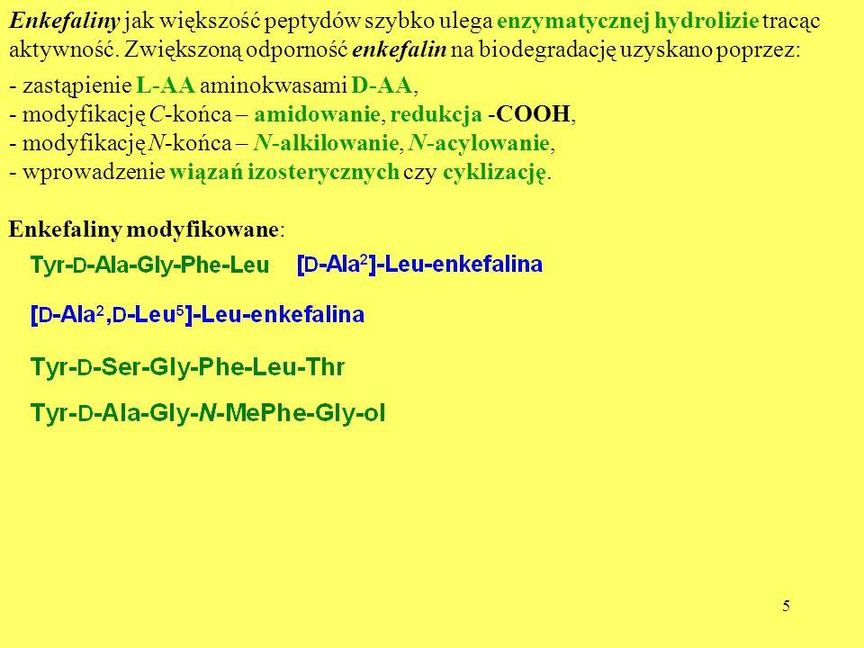 5 Enkefaliny jak większość peptydów szybko ulega enzymatycznej hydrolizie tracąc aktywność. Zwiększoną odporność enkefalin na biodegradację uzyskano p