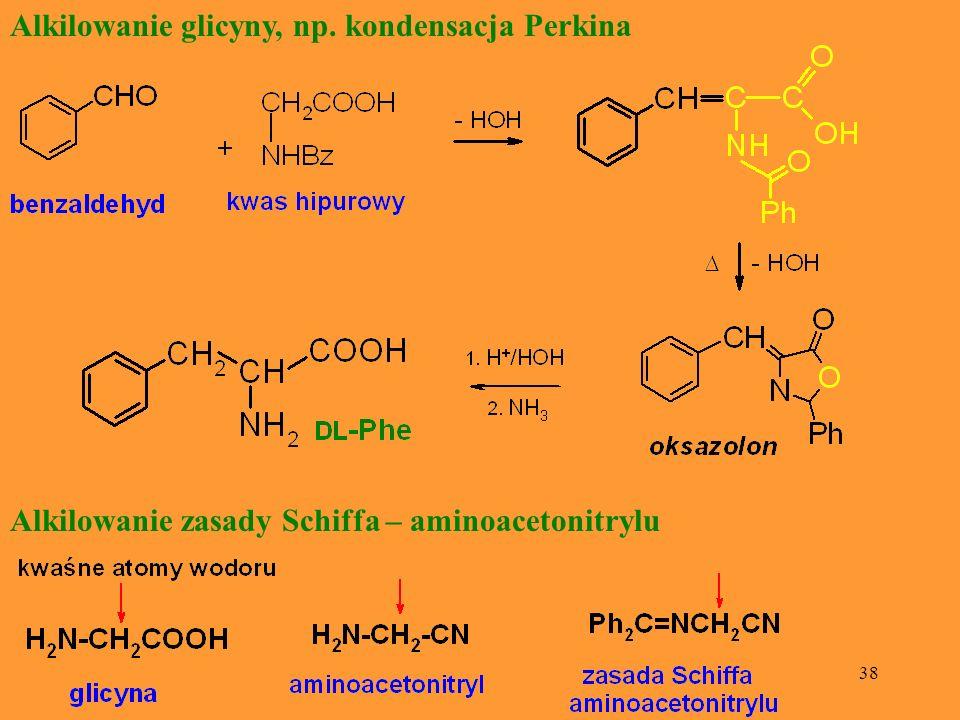 38 Alkilowanie glicyny, np. kondensacja Perkina Alkilowanie zasady Schiffa – aminoacetonitrylu
