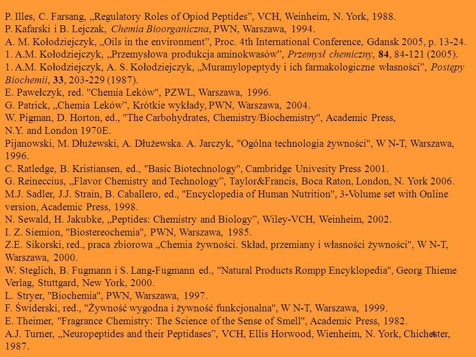 4 P. Illes, C. Farsang, Regulatory Roles of Opiod Peptides, VCH, Weinheim, N. York, 1988. P. Kafarski i B. Lejczak, Chemia Bioorganiczna, PWN, Warszaw