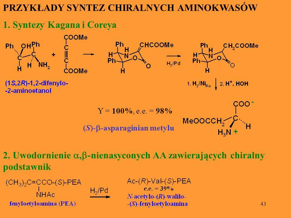 43 PRZYKŁADY SYNTEZ CHIRALNYCH AMINOKWASÓW 1. Syntezy Kagana i Coreya Y = 100%, e.e. = 98% (S)- -asparaginian metylu 2. Uwodornienie, -nienasyconych A