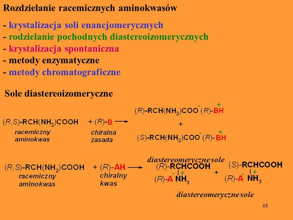 48 Rozdzielanie racemicznych aminokwasów - krystalizacja soli enancjomerycznych - rodzielanie pochodnych diastereoizomerycznych - krystalizacja sponta
