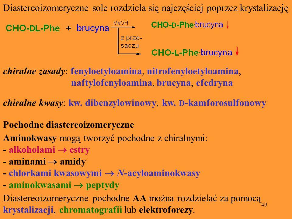 49 Diastereoizomeryczne sole rozdziela się najczęściej poprzez krystalizację chiralne zasady: fenyloetyloamina, nitrofenyloetyloamina, naftylofenyloam