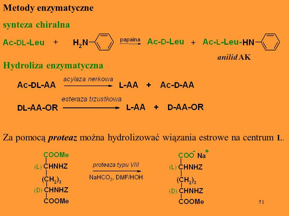 51 Metody enzymatyczne synteza chiralna anilid AK Hydroliza enzymatyczna Za pomocą proteaz można hydrolizować wiązania estrowe na centrum L.