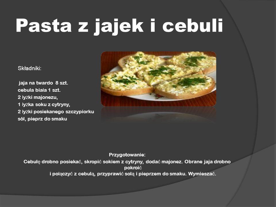 Pasta z jajek i cebuli Składniki: jaja na twardo 8 szt. cebula bia ł a 1 szt. 2 ł y ż ki majonezu, 1 ł y ż ka soku z cytryny, 2 ł y ż ki posiekanego s