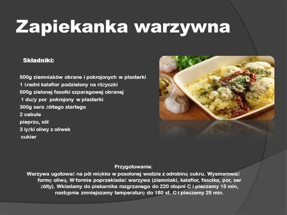 Zapiekanka warzywna Składniki: 500g ziemniaków obrane i pokrojonych w plasterki 1 ś redni kalafior podzielony na ró ż yczki 500g zielonej fasolki szpa