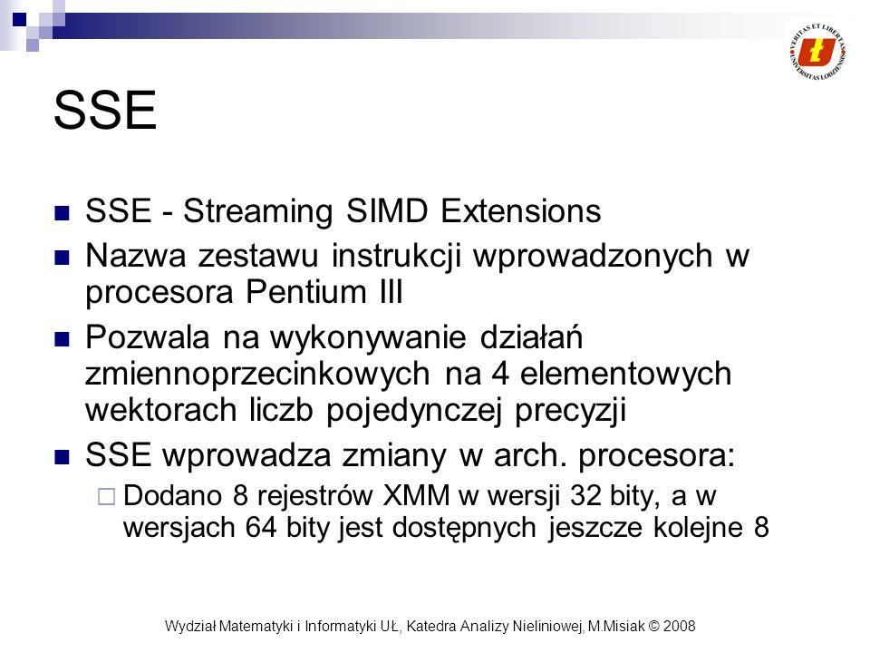Wydział Matematyki i Informatyki UŁ, Katedra Analizy Nieliniowej, M.Misiak © 2008 SSE SSE - Streaming SIMD Extensions Nazwa zestawu instrukcji wprowad