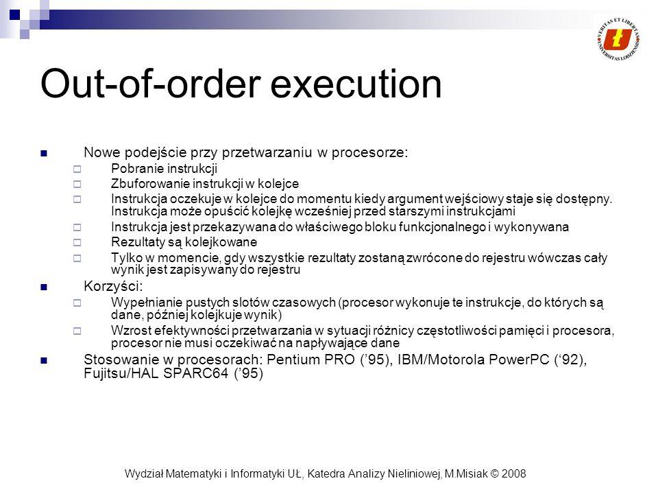Wydział Matematyki i Informatyki UŁ, Katedra Analizy Nieliniowej, M.Misiak © 2008 Out-of-order execution Nowe podejście przy przetwarzaniu w procesorz