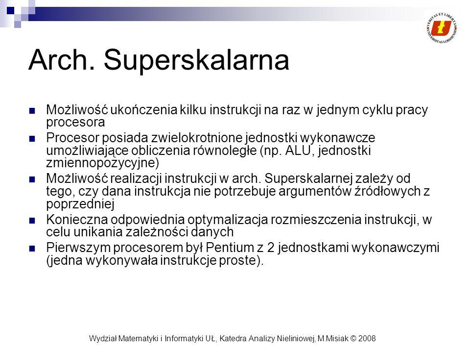 Wydział Matematyki i Informatyki UŁ, Katedra Analizy Nieliniowej, M.Misiak © 2008 Arch. Superskalarna Możliwość ukończenia kilku instrukcji na raz w j