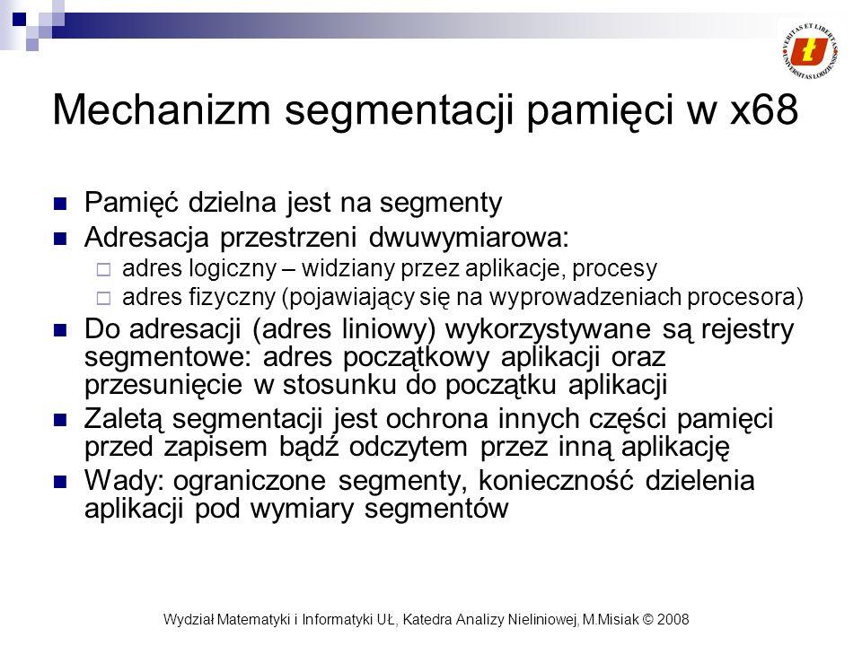 Wydział Matematyki i Informatyki UŁ, Katedra Analizy Nieliniowej, M.Misiak © 2008 Mechanizm segmentacji pamięci w x68 Pamięć dzielna jest na segmenty