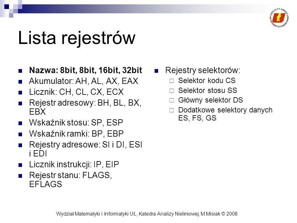 Wydział Matematyki i Informatyki UŁ, Katedra Analizy Nieliniowej, M.Misiak © 2008 Lista rejestrów Nazwa: 8bit, 8bit, 16bit, 32bit Akumulator: AH, AL,