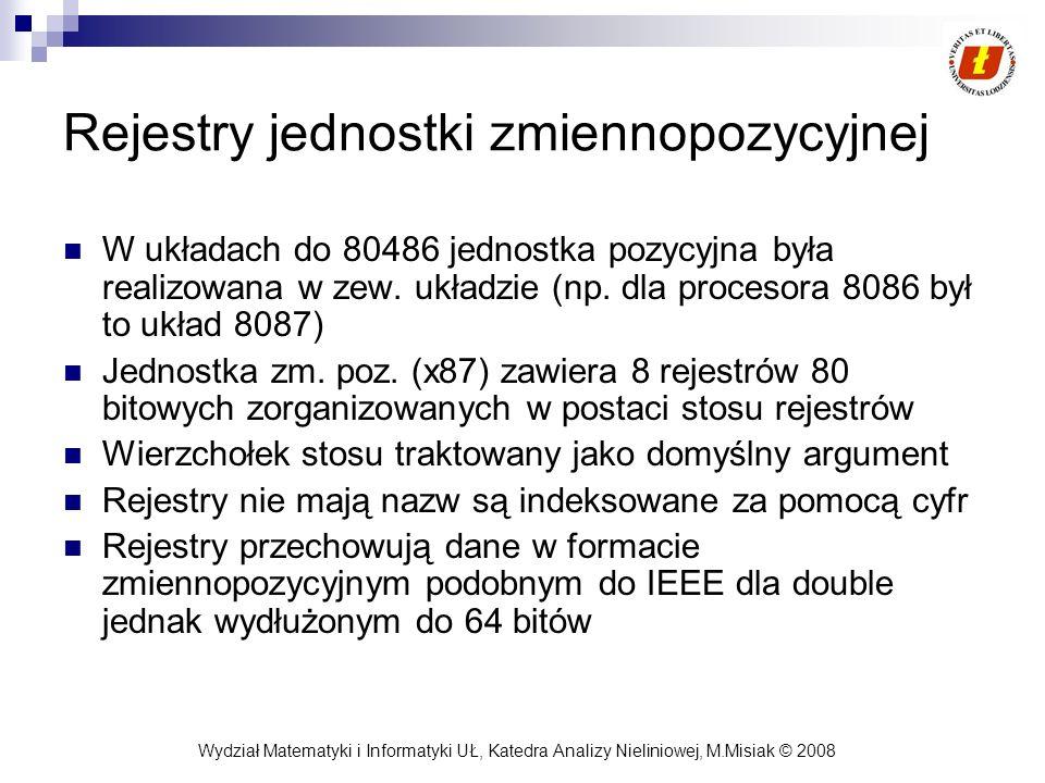 Wydział Matematyki i Informatyki UŁ, Katedra Analizy Nieliniowej, M.Misiak © 2008 Rejestry jednostki zmiennopozycyjnej W układach do 80486 jednostka p