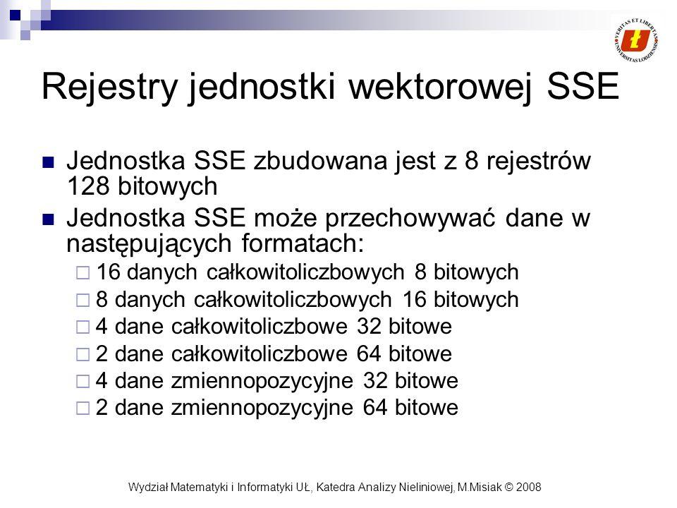 Wydział Matematyki i Informatyki UŁ, Katedra Analizy Nieliniowej, M.Misiak © 2008 Rejestry jednostki wektorowej SSE Jednostka SSE zbudowana jest z 8 r