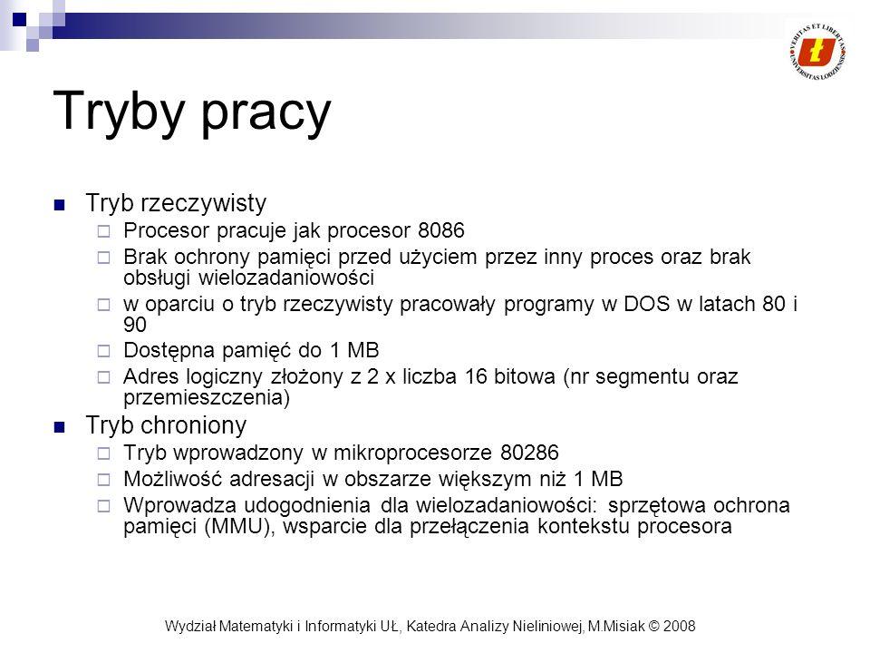 Wydział Matematyki i Informatyki UŁ, Katedra Analizy Nieliniowej, M.Misiak © 2008 Tryby pracy Tryb rzeczywisty Procesor pracuje jak procesor 8086 Brak