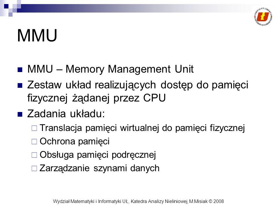 Wydział Matematyki i Informatyki UŁ, Katedra Analizy Nieliniowej, M.Misiak © 2008 MMU MMU – Memory Management Unit Zestaw układ realizujących dostęp d