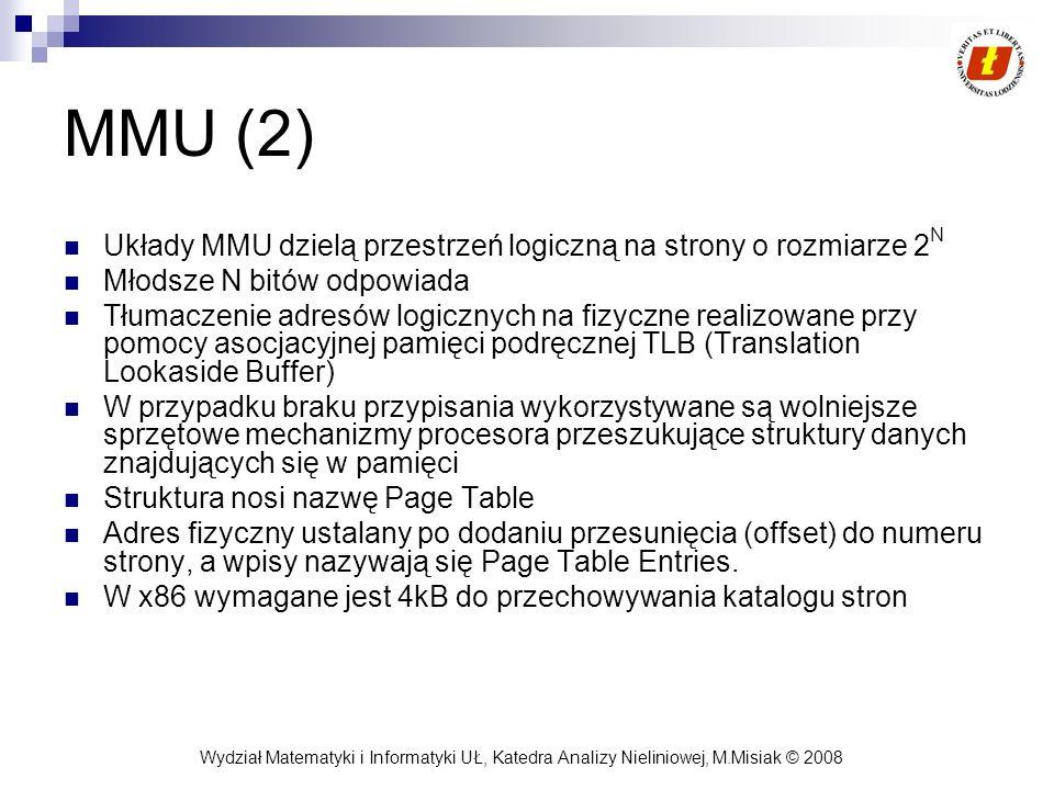 Wydział Matematyki i Informatyki UŁ, Katedra Analizy Nieliniowej, M.Misiak © 2008 MMU (2) Układy MMU dzielą przestrzeń logiczną na strony o rozmiarze