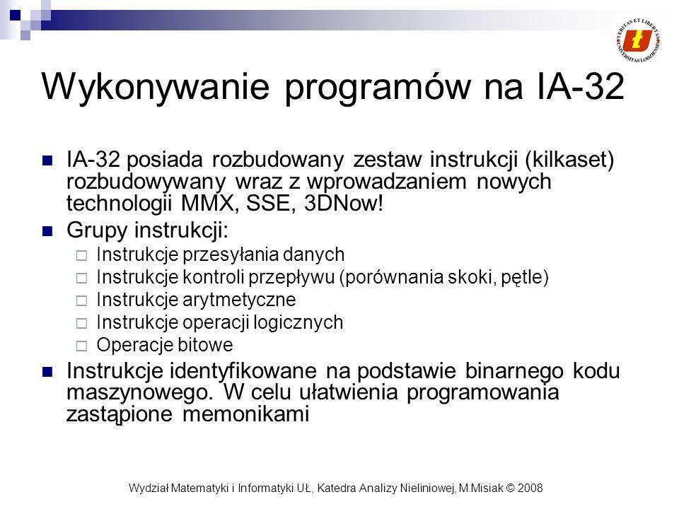 Wydział Matematyki i Informatyki UŁ, Katedra Analizy Nieliniowej, M.Misiak © 2008 Wykonywanie programów na IA-32 IA-32 posiada rozbudowany zestaw inst