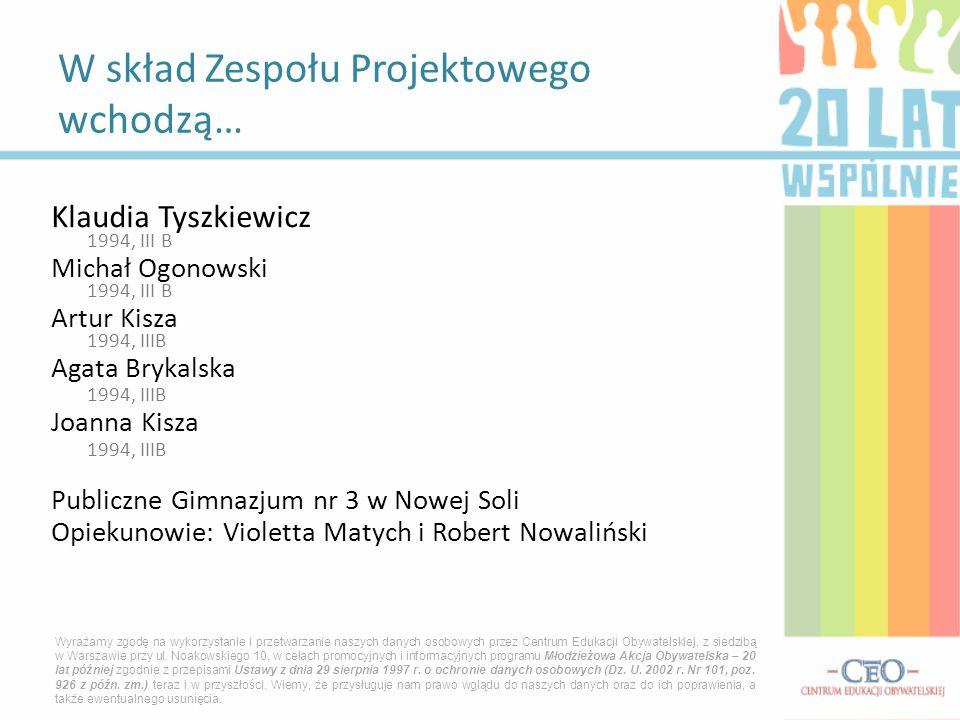 Klaudia Tyszkiewicz 1994, III B Michał Ogonowski 1994, III B Artur Kisza 1994, IIIB Agata Brykalska 1994, IIIB Joanna Kisza 1994, IIIB Publiczne Gimna
