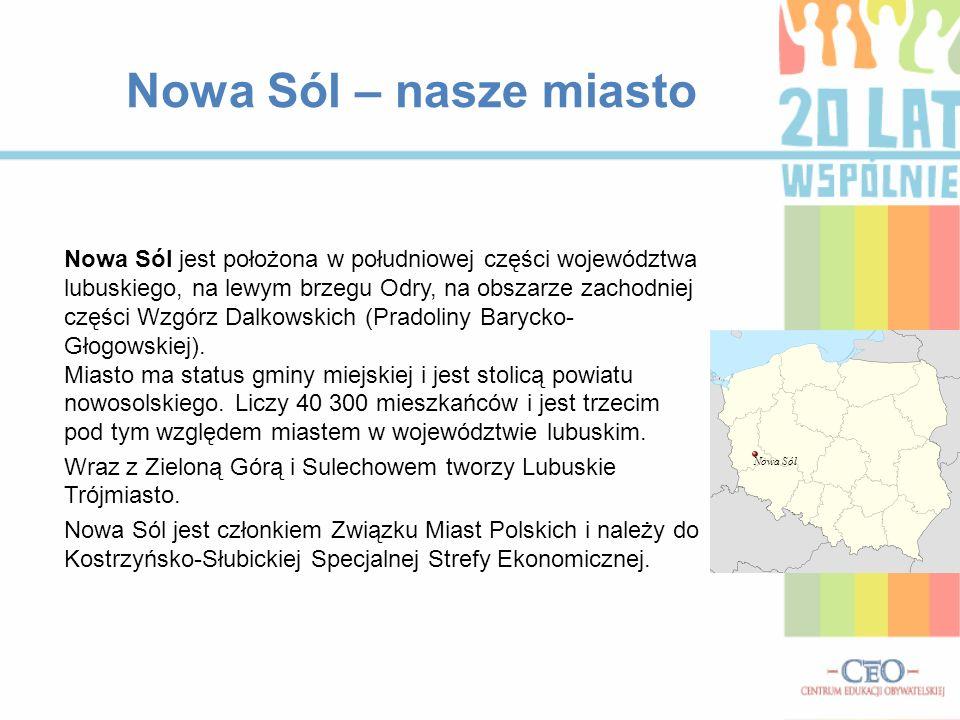 Nowa Sól – nasze miasto Nowa Sól jest położona w południowej części województwa lubuskiego, na lewym brzegu Odry, na obszarze zachodniej części Wzgórz