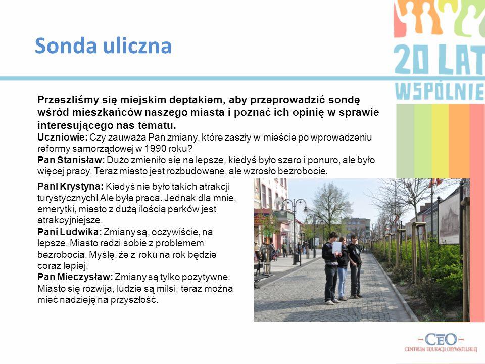 Sonda uliczna Przeszliśmy się miejskim deptakiem, aby przeprowadzić sondę wśród mieszkańców naszego miasta i poznać ich opinię w sprawie interesująceg