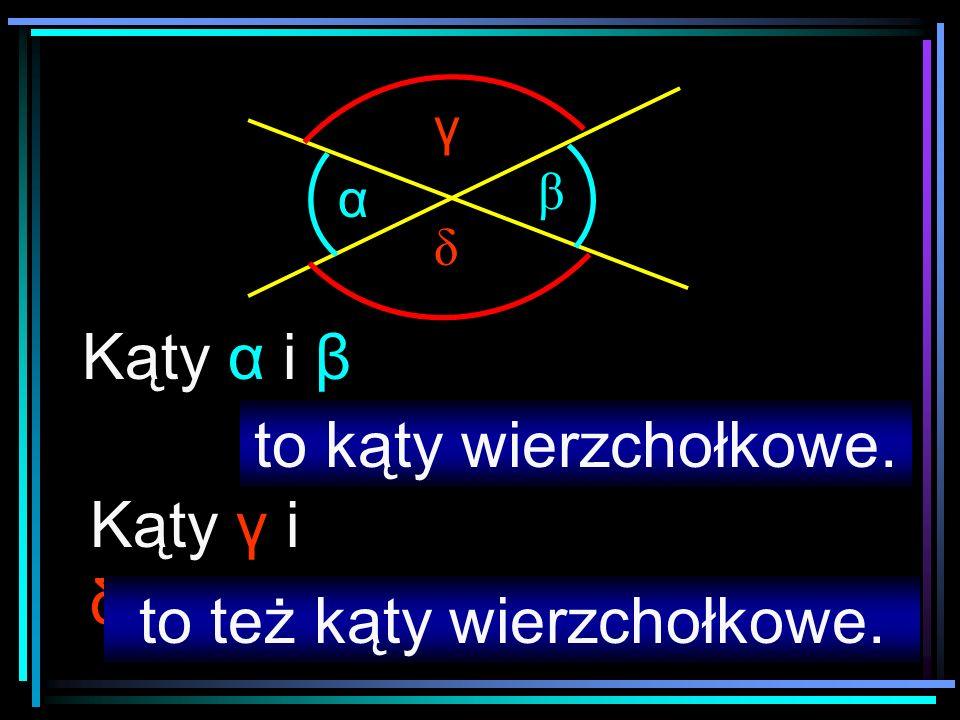 α β δ γ Kąty α i β Kąty γ i δ to kąty wierzchołkowe. to też kąty wierzchołkowe.