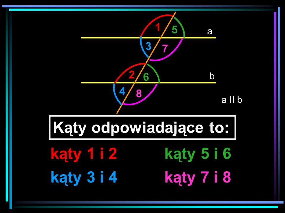 a b a II b 1 2 3 4 5 6 7 8 Zauważ, że Jeśli proste a i b są równoległe to kąty odpowiadające są równe.