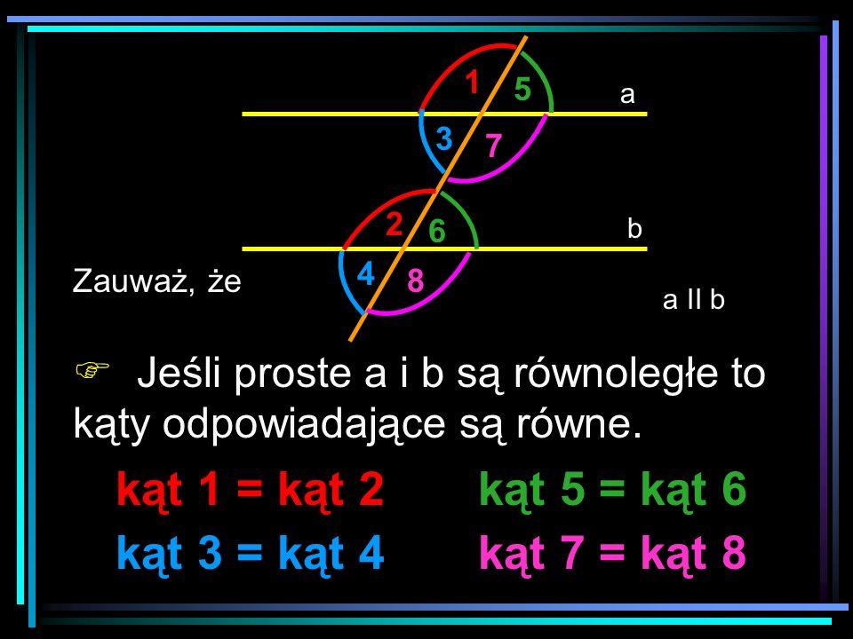 a b a II b 1 2 3 4 5 6 7 8 Zauważ, że Jeśli proste a i b są równoległe to kąty odpowiadające są równe. kąt 1 = kąt 2 kąt 3 = kąt 4 kąt 5 = kąt 6 kąt 7