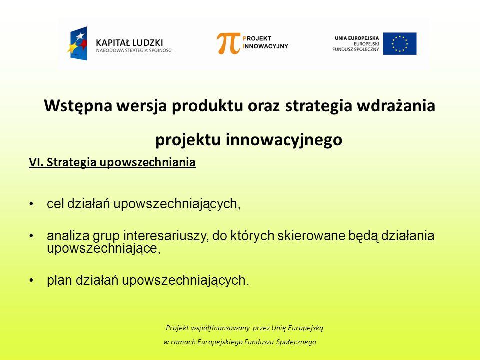 Wstępna wersja produktu oraz strategia wdrażania projektu innowacyjnego VI.