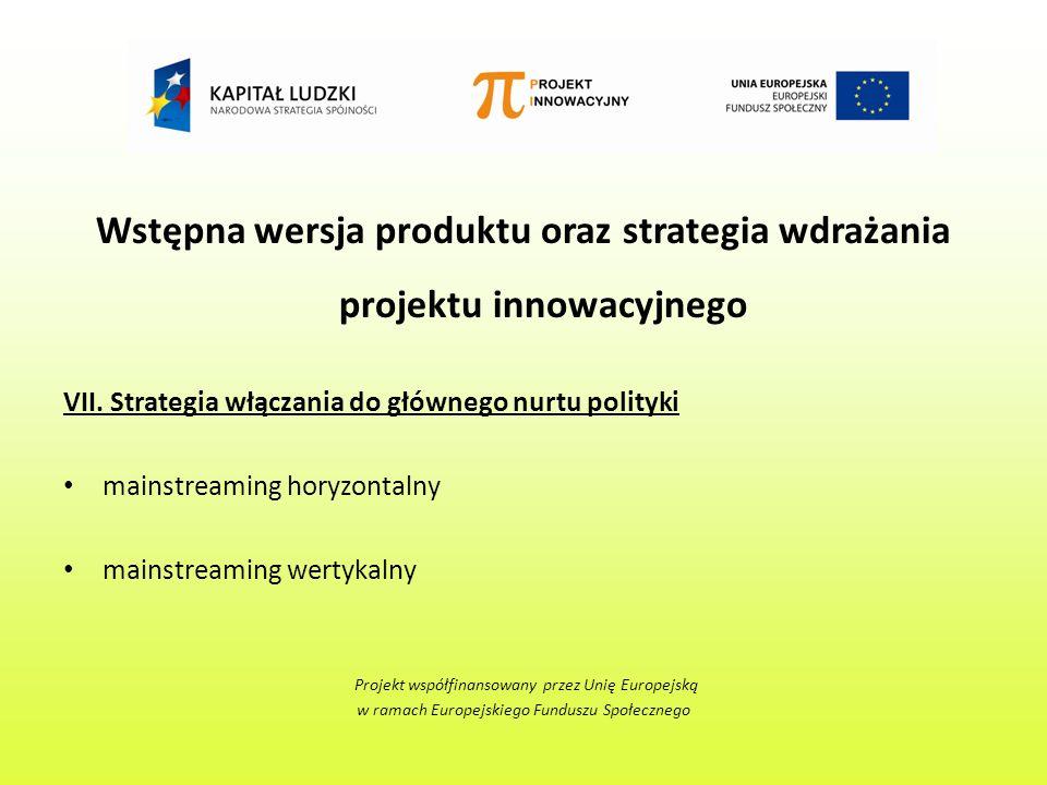 Wstępna wersja produktu oraz strategia wdrażania projektu innowacyjnego VII.