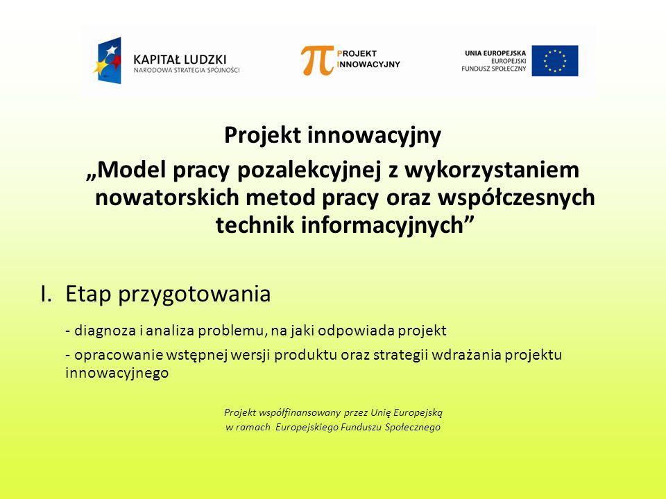 Projekt innowacyjny Model pracy pozalekcyjnej z wykorzystaniem nowatorskich metod pracy oraz współczesnych technik informacyjnych I.