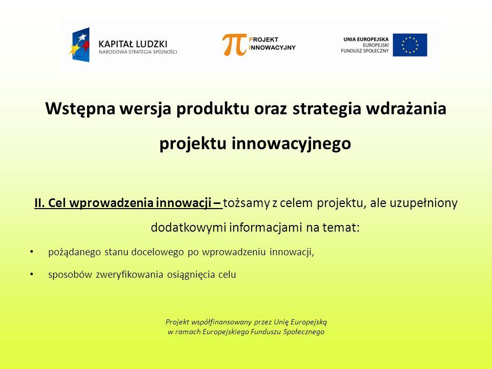 Wstępna wersja produktu oraz strategia wdrażania projektu innowacyjnego II.