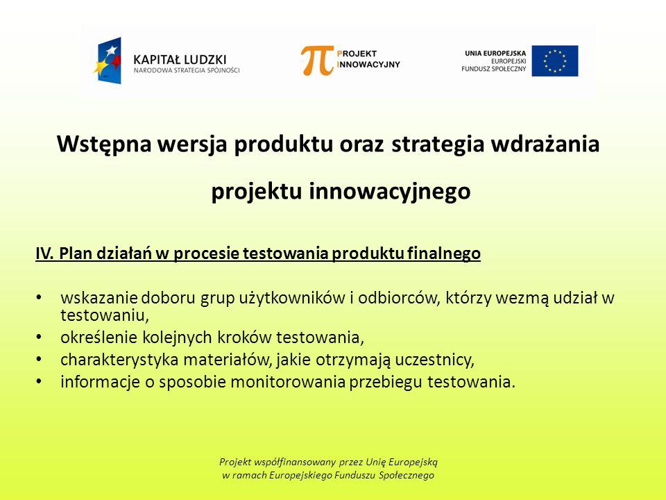 Wstępna wersja produktu oraz strategia wdrażania projektu innowacyjnego IV.