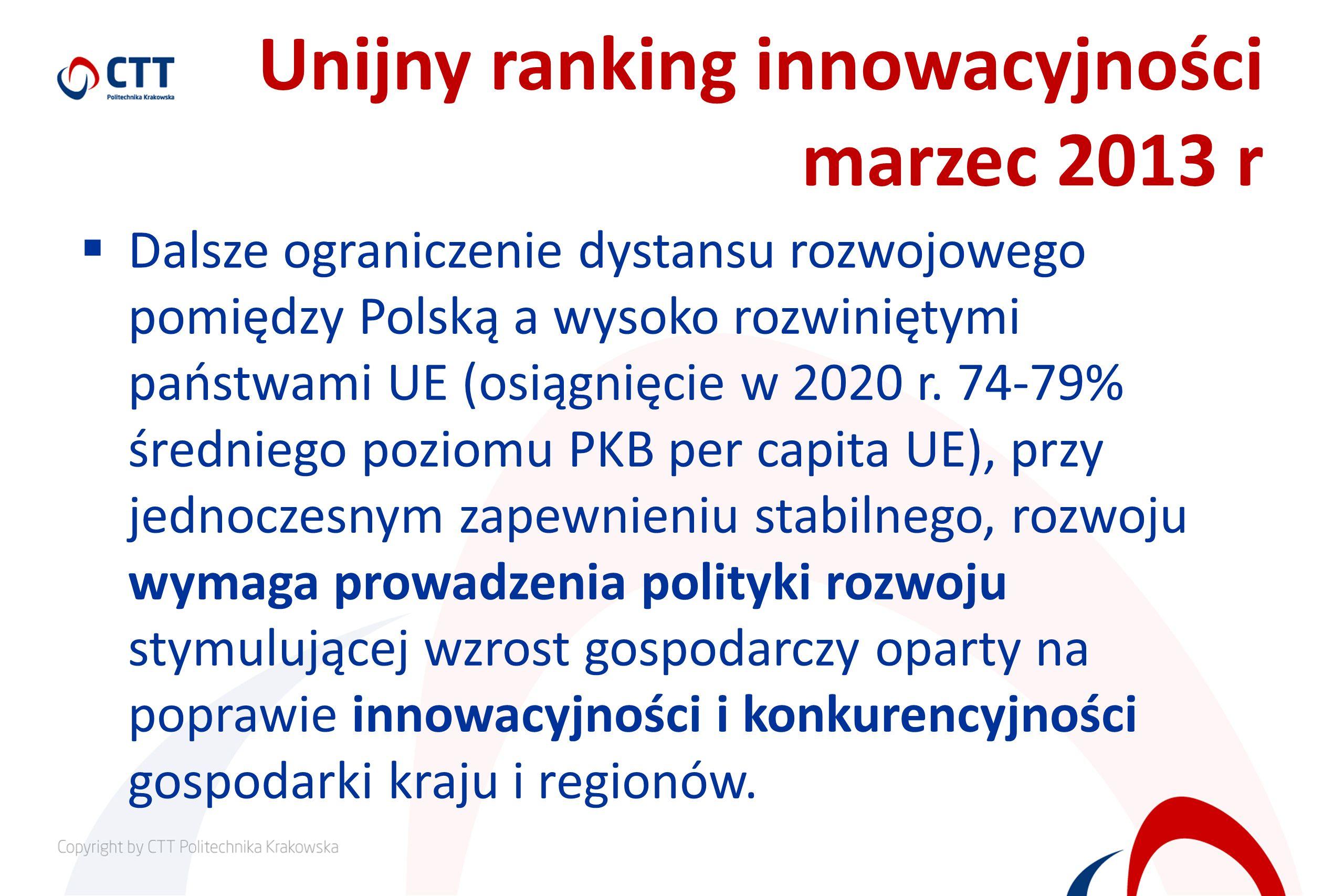 Unijny ranking innowacyjności marzec 2013 r Dalsze ograniczenie dystansu rozwojowego pomiędzy Polską a wysoko rozwiniętymi państwami UE (osiągnięcie w 2020 r.