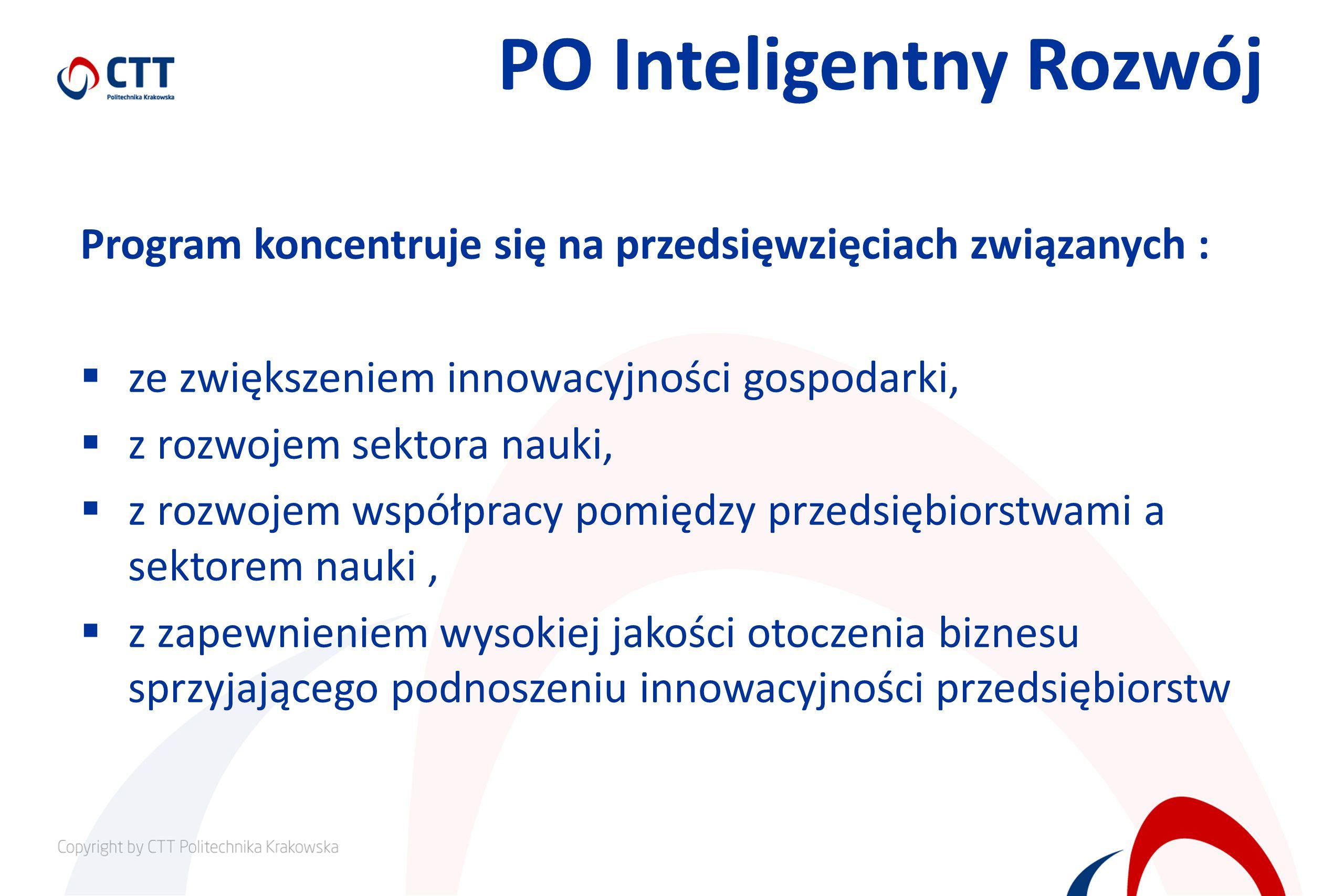 PO Inteligentny Rozwój Program koncentruje się na przedsięwzięciach związanych : ze zwiększeniem innowacyjności gospodarki, z rozwojem sektora nauki, z rozwojem współpracy pomiędzy przedsiębiorstwami a sektorem nauki, z zapewnieniem wysokiej jakości otoczenia biznesu sprzyjającego podnoszeniu innowacyjności przedsiębiorstw