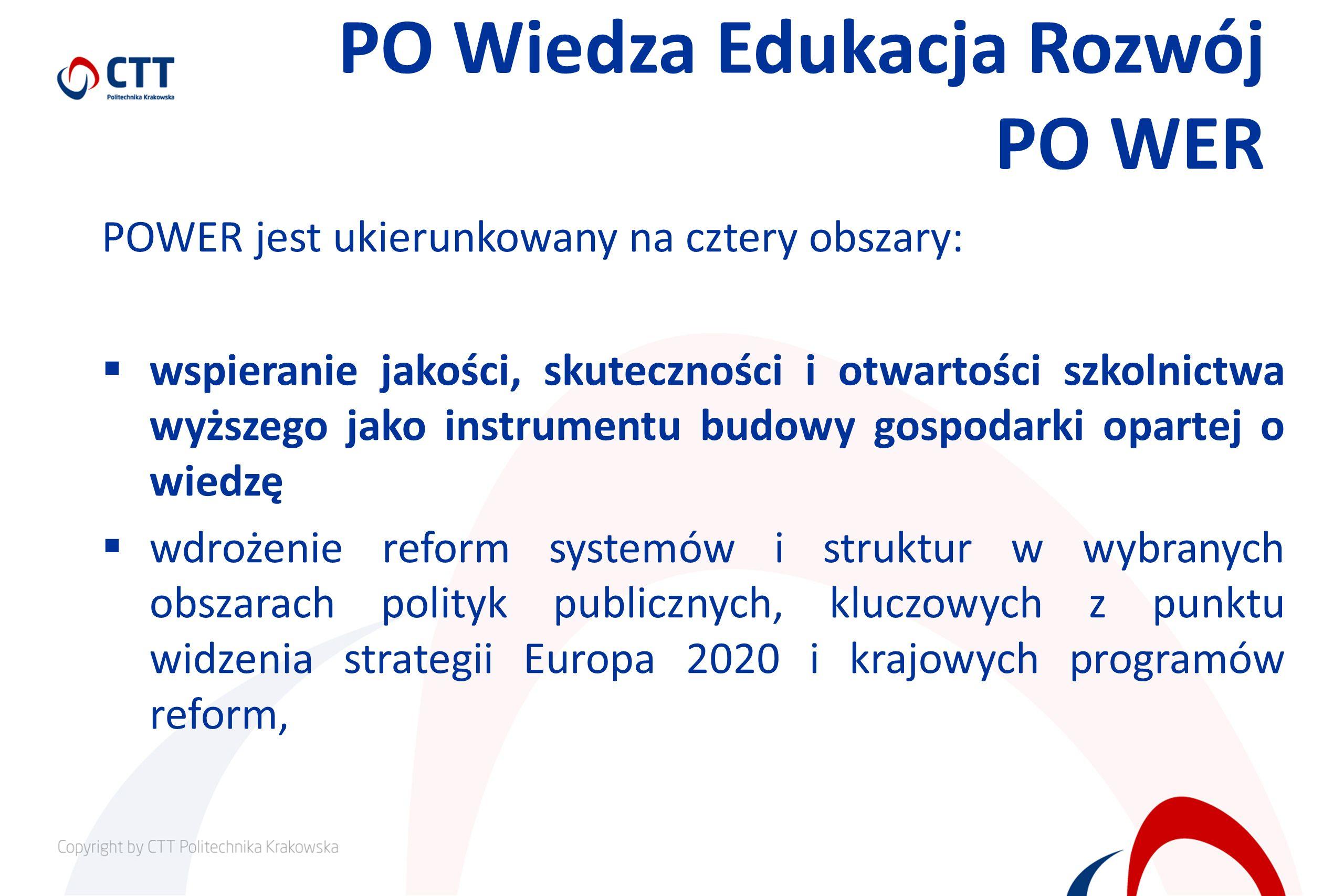 PO Wiedza Edukacja Rozwój PO WER POWER jest ukierunkowany na cztery obszary: wspieranie jakości, skuteczności i otwartości szkolnictwa wyższego jako instrumentu budowy gospodarki opartej o wiedzę wdrożenie reform systemów i struktur w wybranych obszarach polityk publicznych, kluczowych z punktu widzenia strategii Europa 2020 i krajowych programów reform,