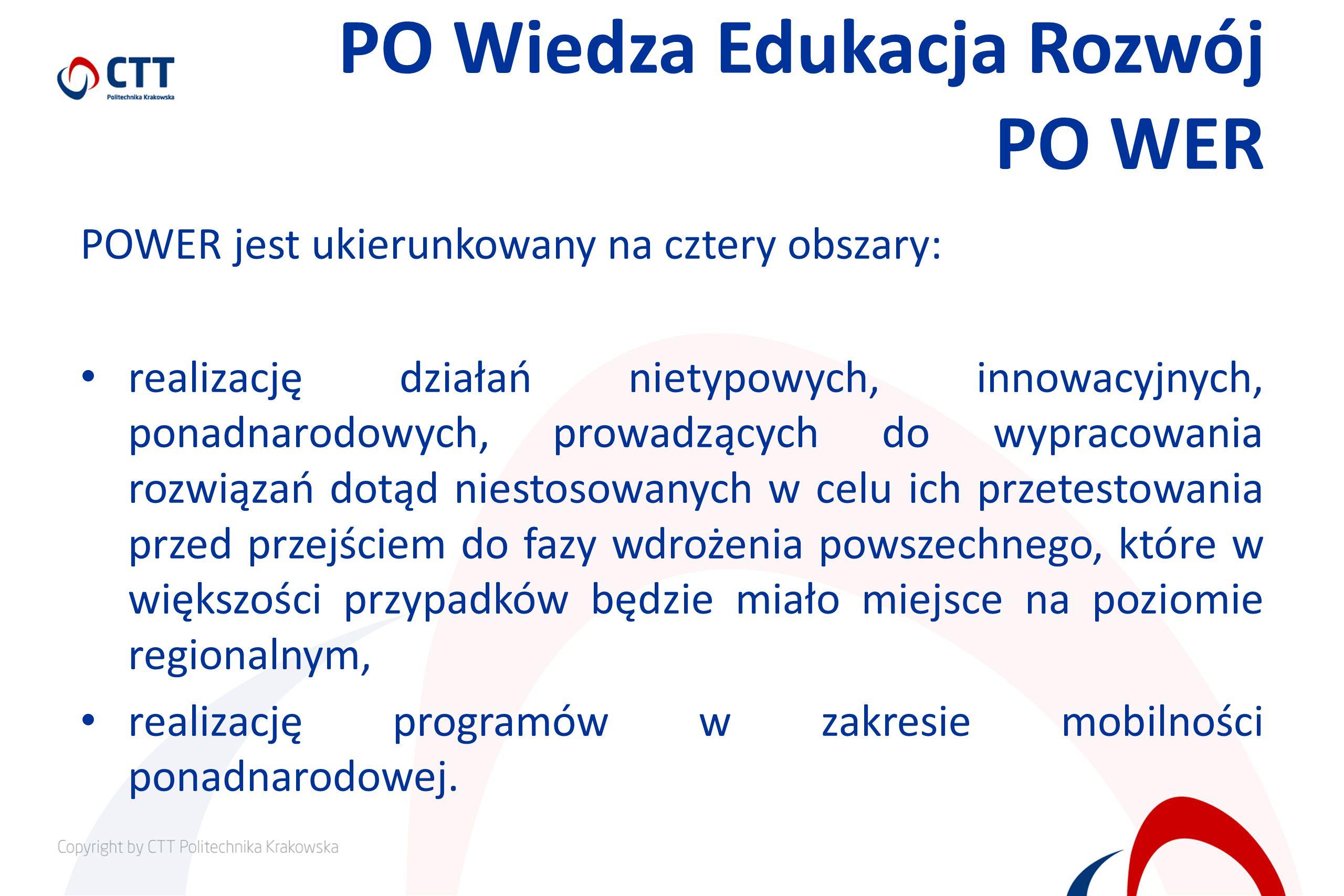 PO Wiedza Edukacja Rozwój PO WER POWER jest ukierunkowany na cztery obszary: realizację działań nietypowych, innowacyjnych, ponadnarodowych, prowadzących do wypracowania rozwiązań dotąd niestosowanych w celu ich przetestowania przed przejściem do fazy wdrożenia powszechnego, które w większości przypadków będzie miało miejsce na poziomie regionalnym, realizację programów w zakresie mobilności ponadnarodowej.