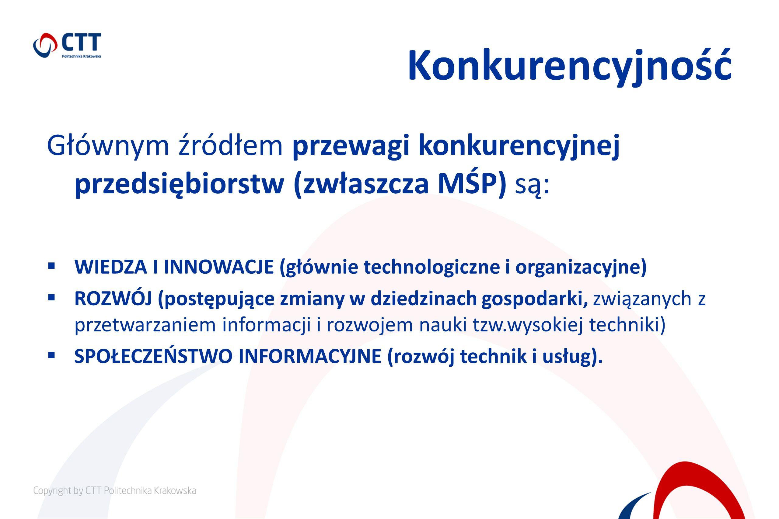Konkurencyjność Głównym źródłem przewagi konkurencyjnej przedsiębiorstw (zwłaszcza MŚP) są: WIEDZA I INNOWACJE (głównie technologiczne i organizacyjne) ROZWÓJ (postępujące zmiany w dziedzinach gospodarki, związanych z przetwarzaniem informacji i rozwojem nauki tzw.wysokiej techniki) SPOŁECZEŃSTWO INFORMACYJNE (rozwój technik i usług).