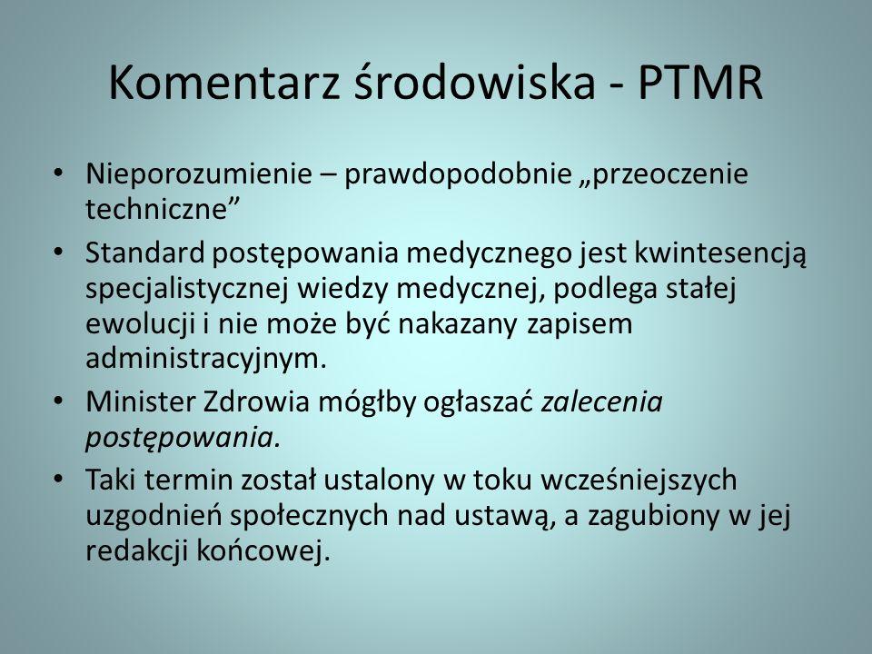 Komentarz środowiska - PTMR Nieporozumienie – prawdopodobnie przeoczenie techniczne Standard postępowania medycznego jest kwintesencją specjalistyczne