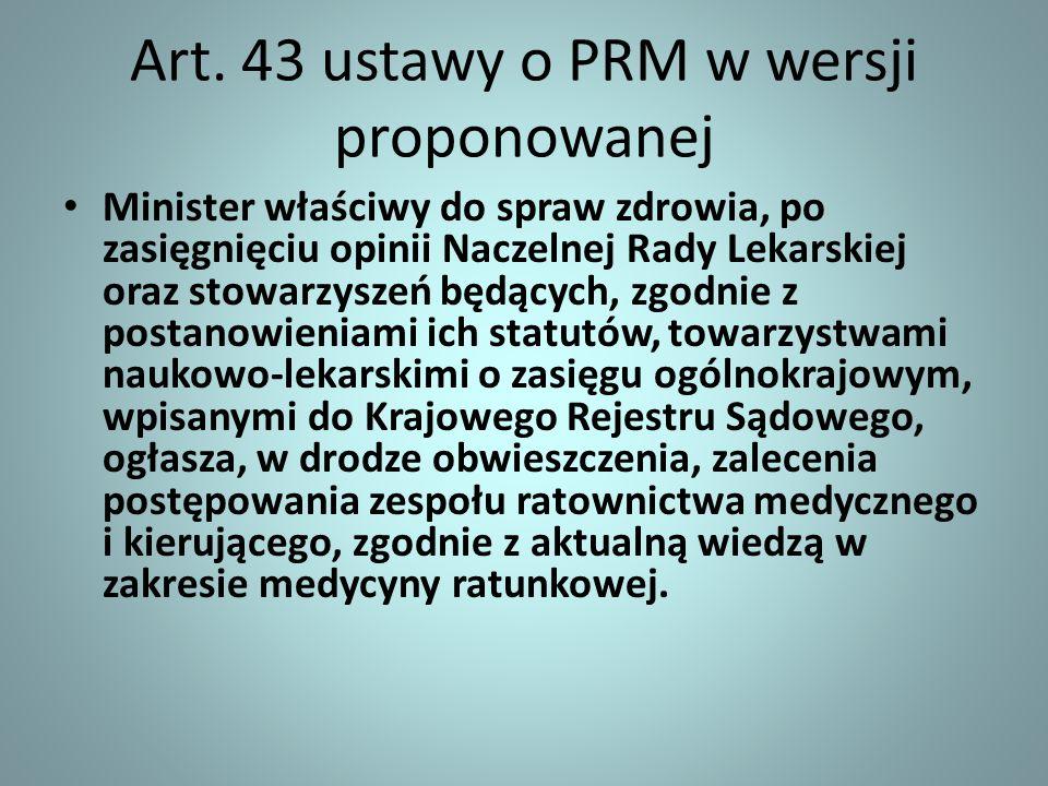 Art. 43 ustawy o PRM w wersji proponowanej Minister właściwy do spraw zdrowia, po zasięgnięciu opinii Naczelnej Rady Lekarskiej oraz stowarzyszeń będą