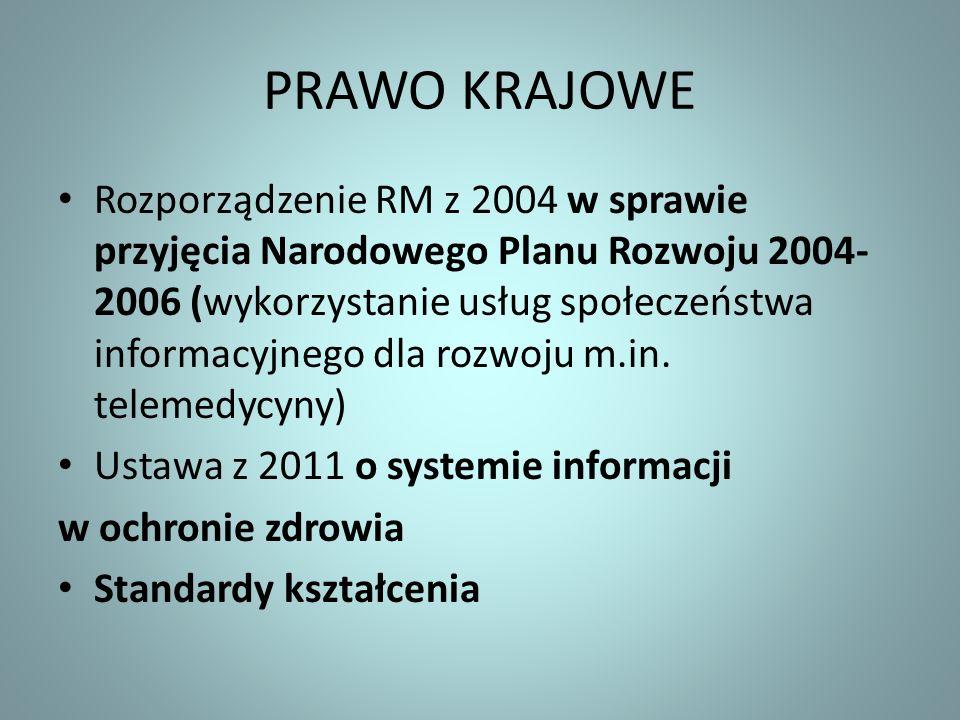 PRAWO KRAJOWE Rozporządzenie RM z 2004 w sprawie przyjęcia Narodowego Planu Rozwoju 2004- 2006 (wykorzystanie usług społeczeństwa informacyjnego dla r