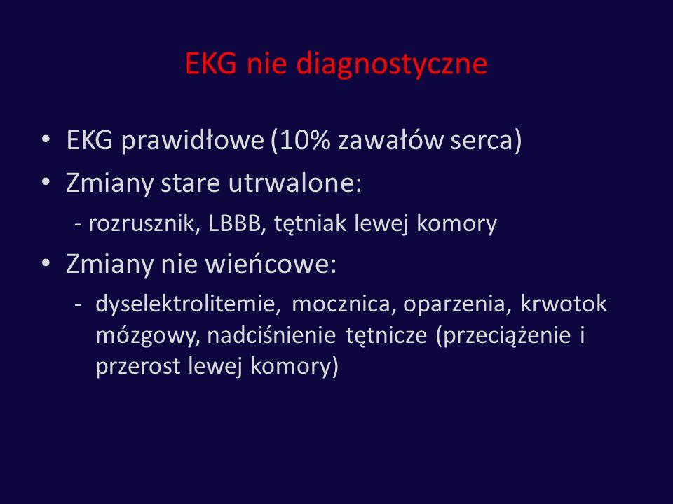 EKG nie diagnostyczne EKG prawidłowe (10% zawałów serca) Zmiany stare utrwalone: - rozrusznik, LBBB, tętniak lewej komory Zmiany nie wieńcowe: -dysele